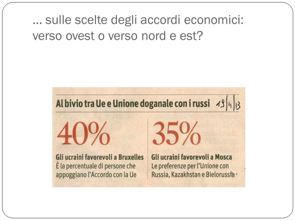 … sulle scelte degli accordi economici: verso ovest o verso nord e est?