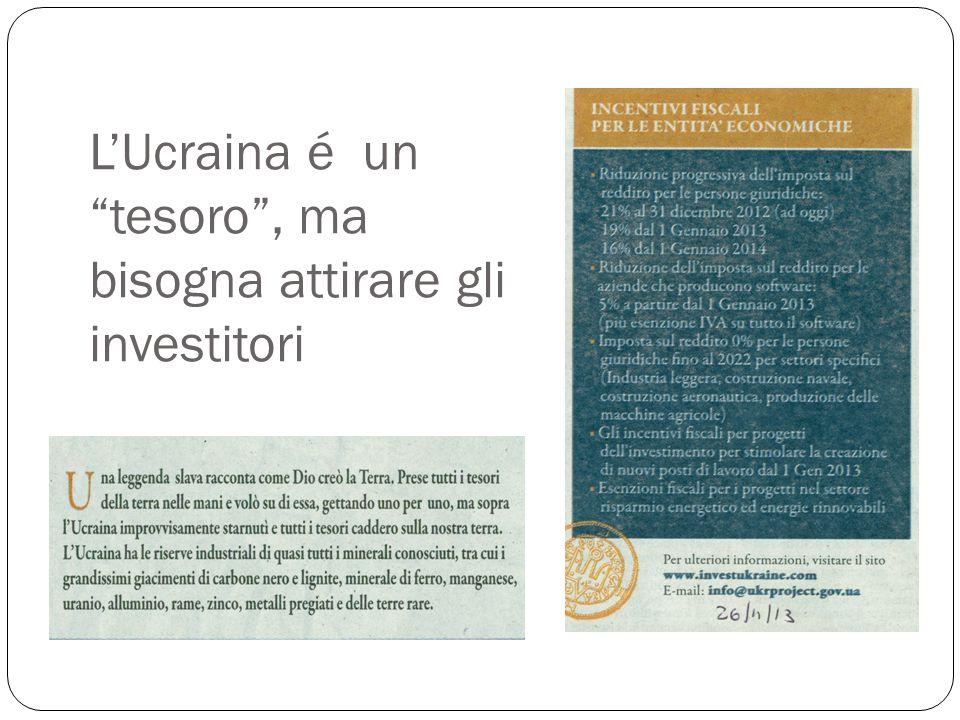 """L'Ucraina é un """"tesoro"""", ma bisogna attirare gli investitori"""