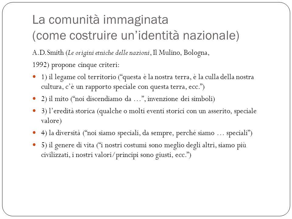 La comunità immaginata (come costruire un'identità nazionale) A.D.Smith (Le origini etniche delle nazioni, Il Mulino, Bologna, 1992) propone cinque cr