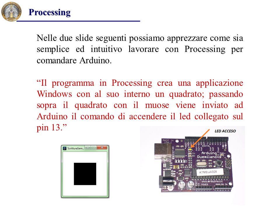 """Processing Nelle due slide seguenti possiamo apprezzare come sia semplice ed intuitivo lavorare con Processing per comandare Arduino. """"Il programma in"""