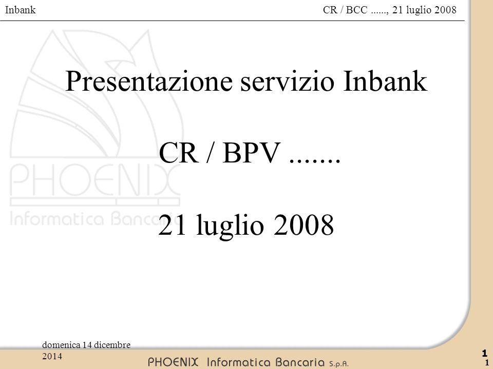 Inbank 1 CR / BCC......, 21 luglio 2008domenica 14 dicembre 2014 1 Presentazione servizio Inbank CR / BPV....... 21 luglio 2008