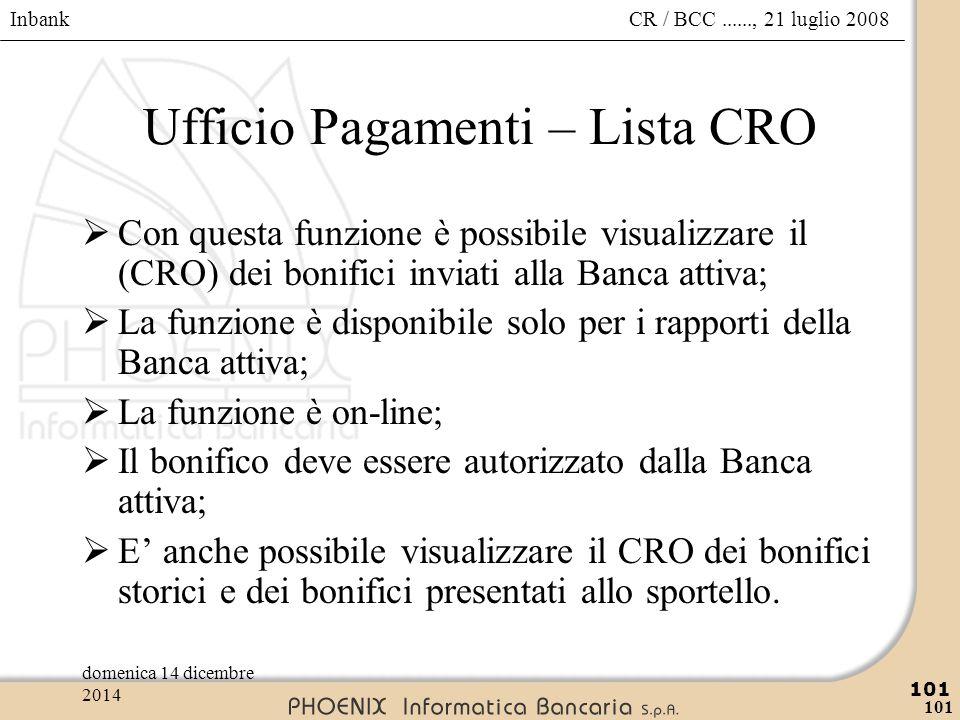 Inbank 101 CR / BCC......, 21 luglio 2008domenica 14 dicembre 2014 101 Ufficio Pagamenti – Lista CRO  Con questa funzione è possibile visualizzare il