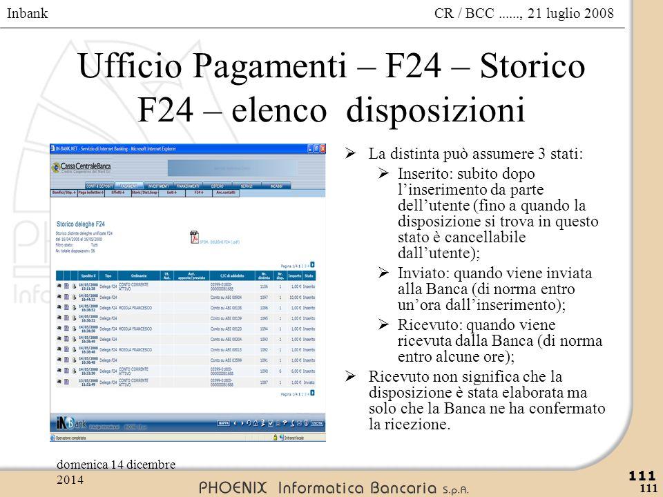 Inbank 111 CR / BCC......, 21 luglio 2008domenica 14 dicembre 2014 111 Ufficio Pagamenti – F24 – Storico F24 – elenco disposizioni  La distinta può a