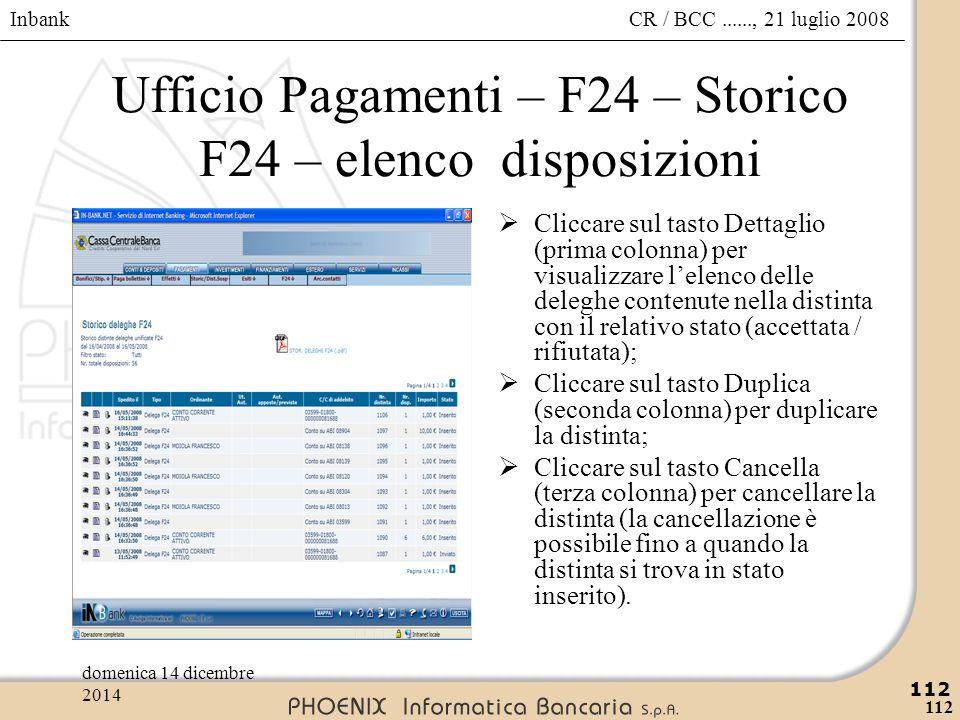 Inbank 112 CR / BCC......, 21 luglio 2008domenica 14 dicembre 2014 112 Ufficio Pagamenti – F24 – Storico F24 – elenco disposizioni  Cliccare sul tast