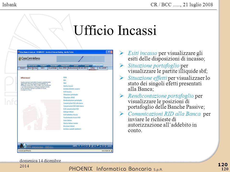 Inbank 120 CR / BCC......, 21 luglio 2008domenica 14 dicembre 2014 120 Ufficio Incassi  Esiti incasso per visualizzare gli esiti delle disposizioni d