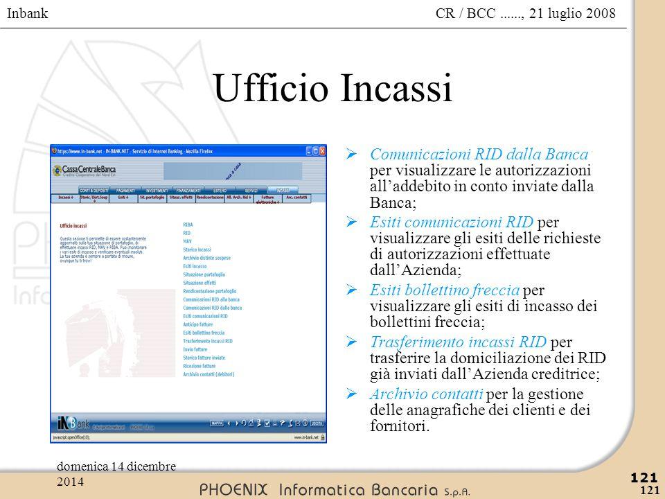 Inbank 121 CR / BCC......, 21 luglio 2008domenica 14 dicembre 2014 121 Ufficio Incassi  Comunicazioni RID dalla Banca per visualizzare le autorizzazi