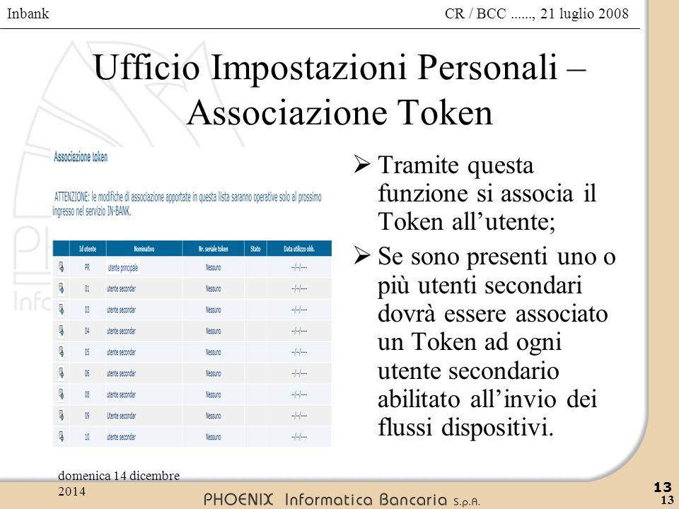 Inbank 13 CR / BCC......, 21 luglio 2008domenica 14 dicembre 2014 13 Ufficio Impostazioni Personali – Associazione Token  Tramite questa funzione si