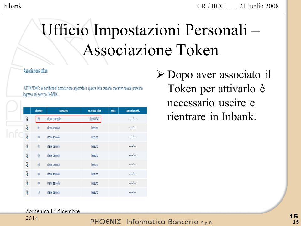 Inbank 15 CR / BCC......, 21 luglio 2008domenica 14 dicembre 2014 15 Ufficio Impostazioni Personali – Associazione Token  Dopo aver associato il Toke
