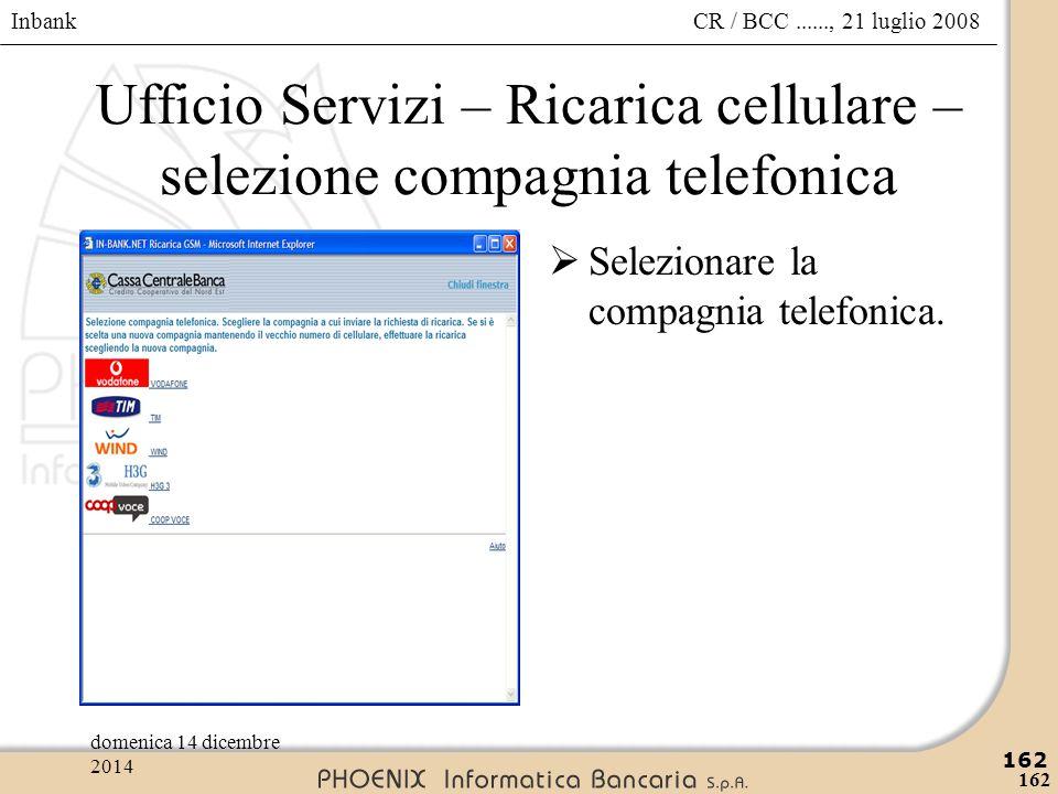 Inbank 162 CR / BCC......, 21 luglio 2008domenica 14 dicembre 2014 162 Ufficio Servizi – Ricarica cellulare – selezione compagnia telefonica  Selezio