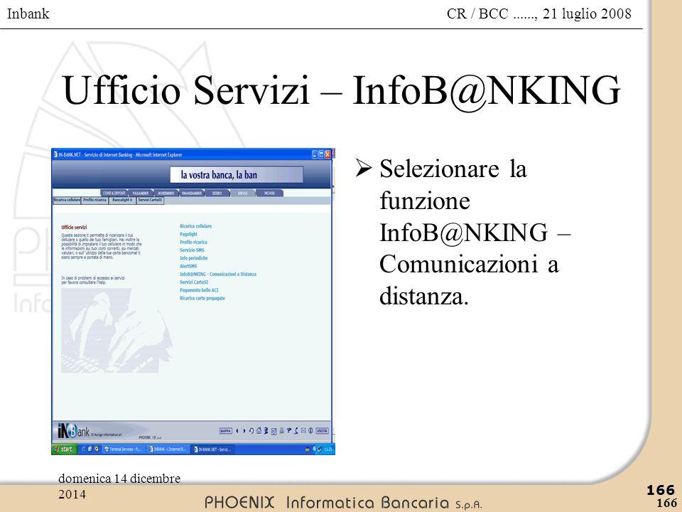 Inbank 166 CR / BCC......, 21 luglio 2008domenica 14 dicembre 2014 166 Ufficio Servizi – InfoB@NKING  Selezionare la funzione InfoB@NKING – Comunicaz