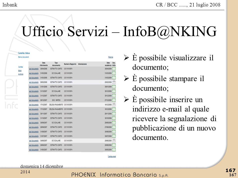 Inbank 167 CR / BCC......, 21 luglio 2008domenica 14 dicembre 2014 167 Ufficio Servizi – InfoB@NKING  È possibile visualizzare il documento;  È poss
