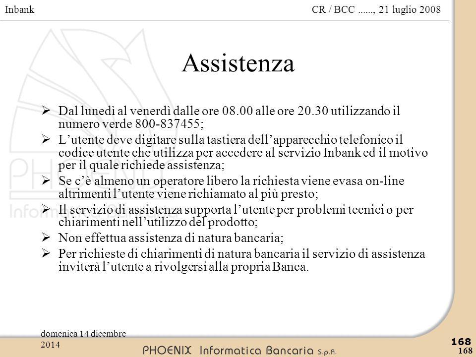 Inbank 168 CR / BCC......, 21 luglio 2008domenica 14 dicembre 2014 168 Assistenza  Dal lunedì al venerdì dalle ore 08.00 alle ore 20.30 utilizzando i