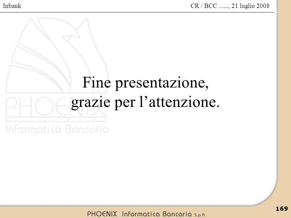 Inbank 169 CR / BCC......, 21 luglio 2008 Fine presentazione, grazie per l'attenzione.