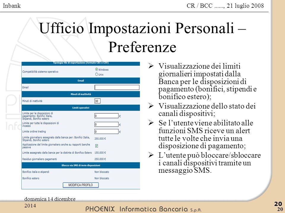 Inbank 20 CR / BCC......, 21 luglio 2008domenica 14 dicembre 2014 20 Ufficio Impostazioni Personali – Preferenze  Visualizzazione dei limiti giornali