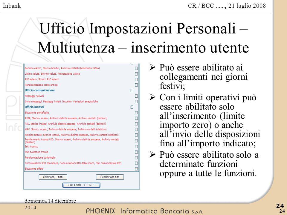 Inbank 24 CR / BCC......, 21 luglio 2008domenica 14 dicembre 2014 24 Ufficio Impostazioni Personali – Multiutenza – inserimento utente  Può essere ab