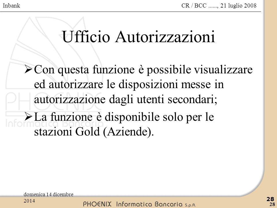 Inbank 28 CR / BCC......, 21 luglio 2008domenica 14 dicembre 2014 28 Ufficio Autorizzazioni  Con questa funzione è possibile visualizzare ed autorizz