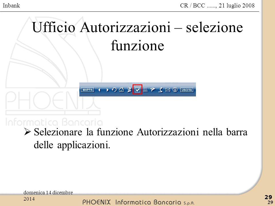 Inbank 29 CR / BCC......, 21 luglio 2008domenica 14 dicembre 2014 29 Ufficio Autorizzazioni – selezione funzione  Selezionare la funzione Autorizzazi