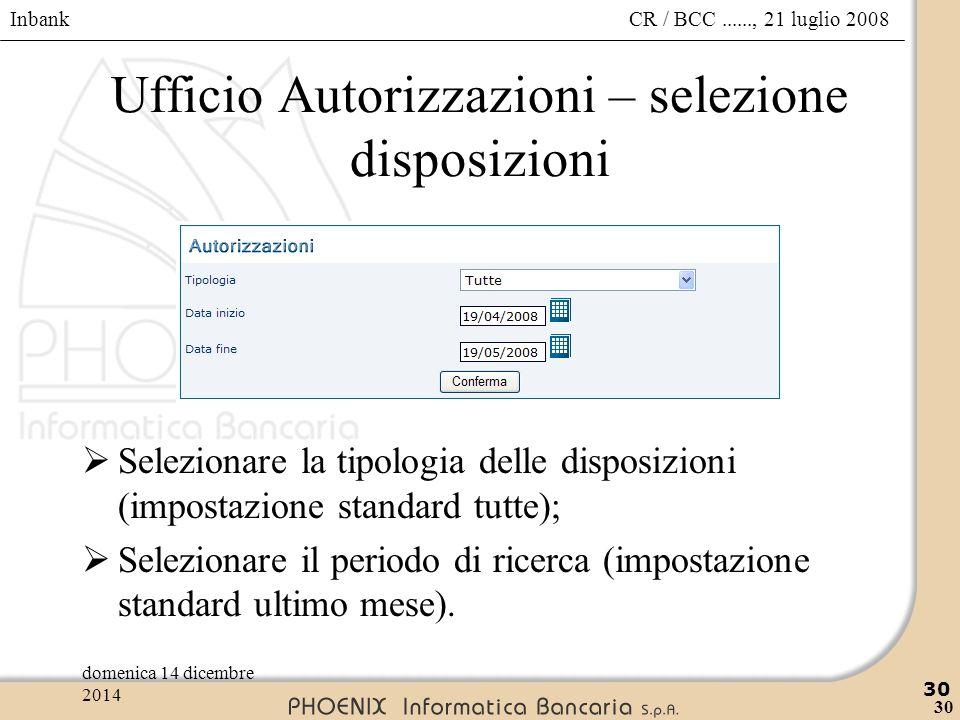 Inbank 30 CR / BCC......, 21 luglio 2008domenica 14 dicembre 2014 30 Ufficio Autorizzazioni – selezione disposizioni  Selezionare la tipologia delle