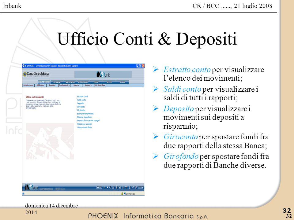 Inbank 32 CR / BCC......, 21 luglio 2008domenica 14 dicembre 2014 32 Ufficio Conti & Depositi  Estratto conto per visualizzare l'elenco dei movimenti