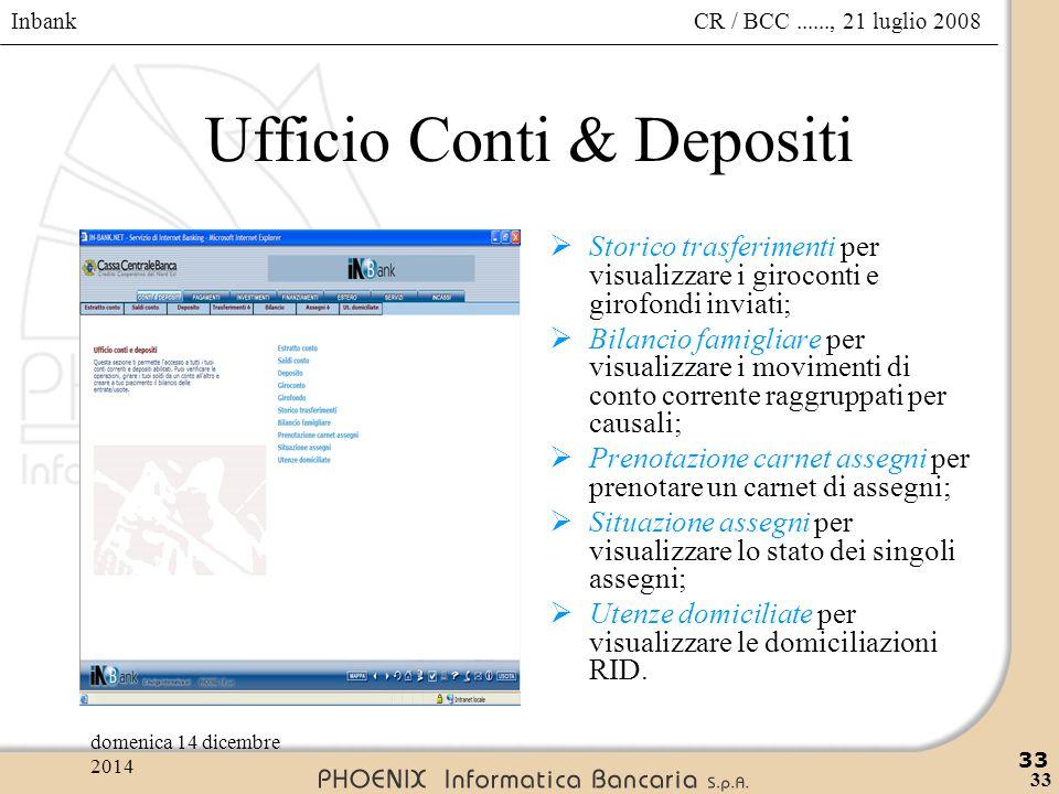 Inbank 33 CR / BCC......, 21 luglio 2008domenica 14 dicembre 2014 33 Ufficio Conti & Depositi  Storico trasferimenti per visualizzare i giroconti e g
