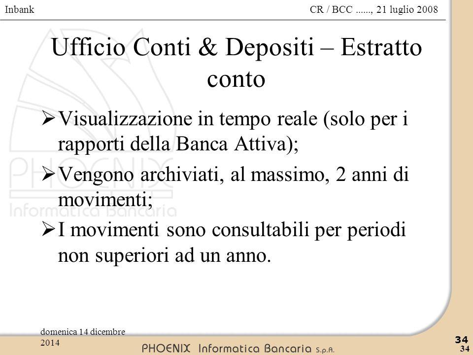 Inbank 34 CR / BCC......, 21 luglio 2008domenica 14 dicembre 2014 34 Ufficio Conti & Depositi – Estratto conto  Visualizzazione in tempo reale (solo