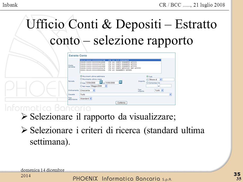 Inbank 35 CR / BCC......, 21 luglio 2008domenica 14 dicembre 2014 35 Ufficio Conti & Depositi – Estratto conto – selezione rapporto  Selezionare il r