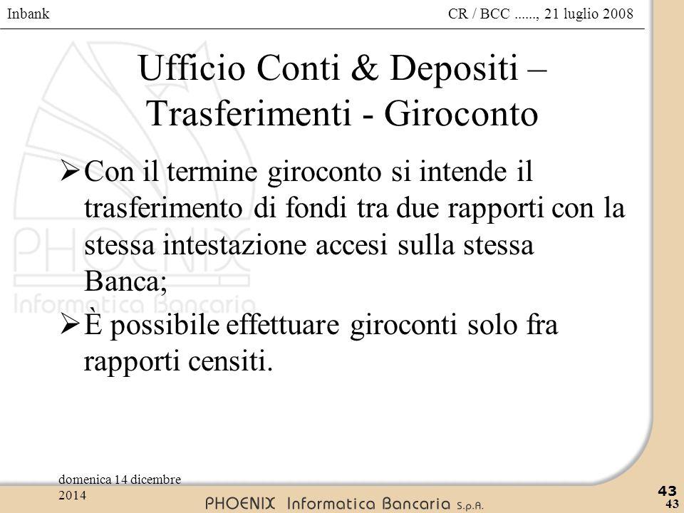 Inbank 43 CR / BCC......, 21 luglio 2008domenica 14 dicembre 2014 43 Ufficio Conti & Depositi – Trasferimenti - Giroconto  Con il termine giroconto s