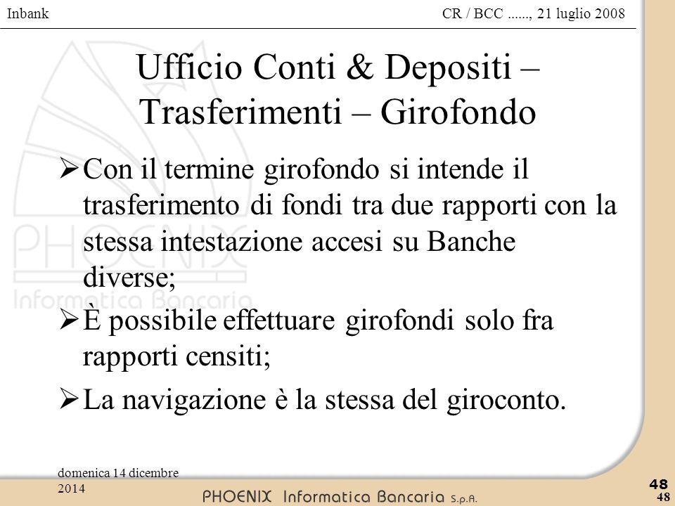 Inbank 48 CR / BCC......, 21 luglio 2008domenica 14 dicembre 2014 48 Ufficio Conti & Depositi – Trasferimenti – Girofondo  Con il termine girofondo s