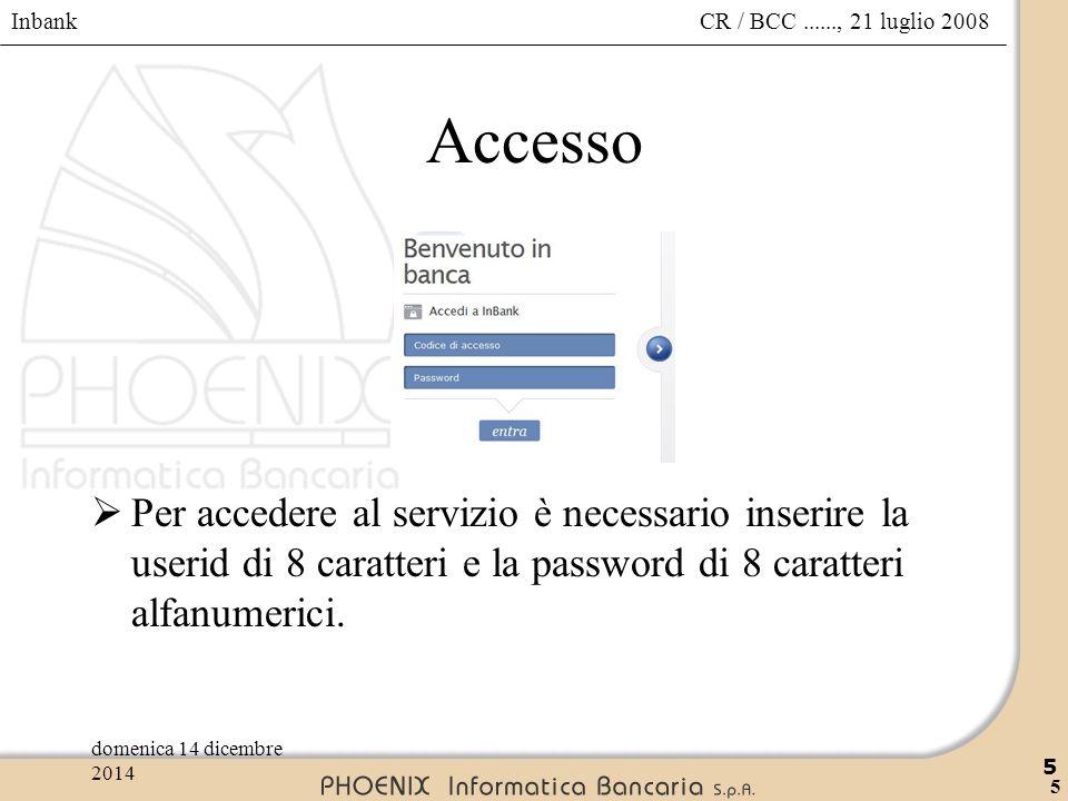 Inbank 5 CR / BCC......, 21 luglio 2008domenica 14 dicembre 2014 5 Accesso  Per accedere al servizio è necessario inserire la userid di 8 caratteri e