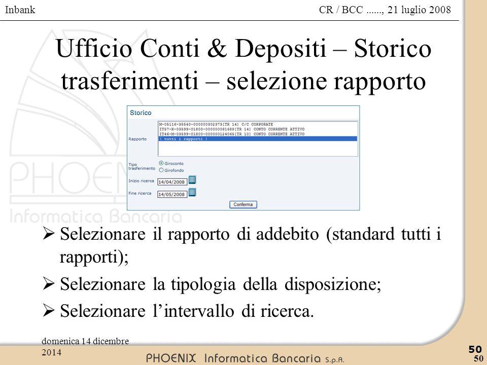 Inbank 50 CR / BCC......, 21 luglio 2008domenica 14 dicembre 2014 50 Ufficio Conti & Depositi – Storico trasferimenti – selezione rapporto  Seleziona