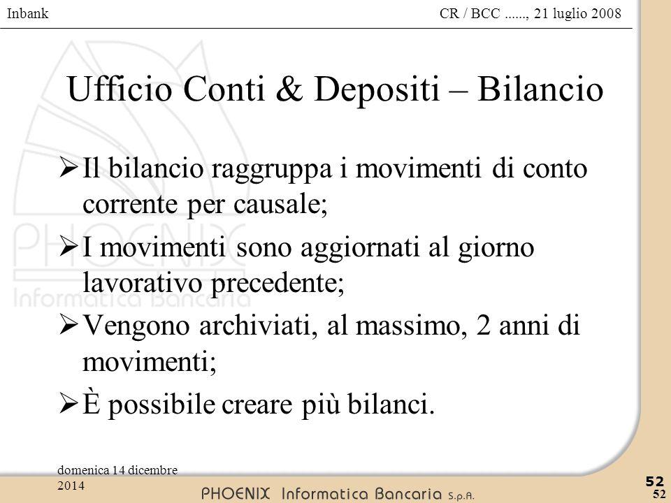 Inbank 52 CR / BCC......, 21 luglio 2008domenica 14 dicembre 2014 52 Ufficio Conti & Depositi – Bilancio  Il bilancio raggruppa i movimenti di conto