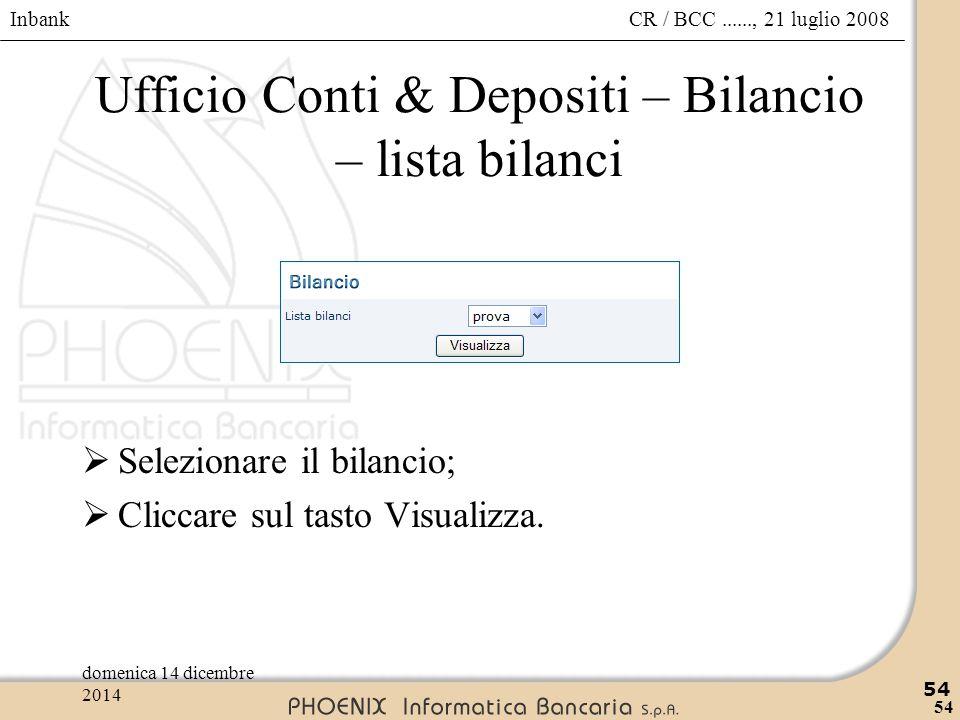 Inbank 54 CR / BCC......, 21 luglio 2008domenica 14 dicembre 2014 54 Ufficio Conti & Depositi – Bilancio – lista bilanci  Selezionare il bilancio; 
