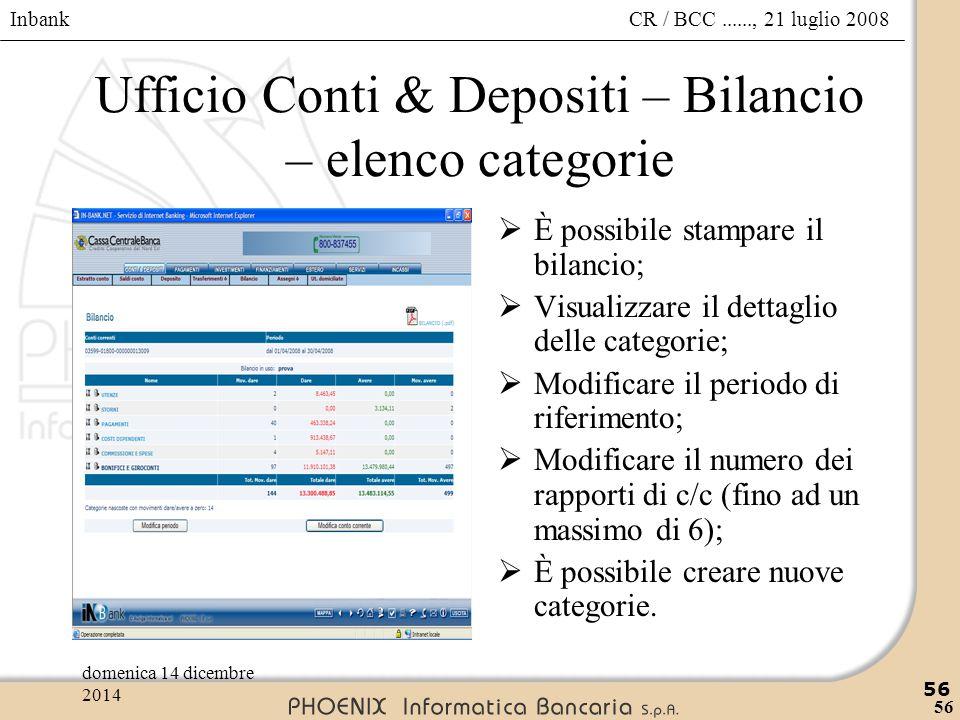 Inbank 56 CR / BCC......, 21 luglio 2008domenica 14 dicembre 2014 56 Ufficio Conti & Depositi – Bilancio – elenco categorie  È possibile stampare il