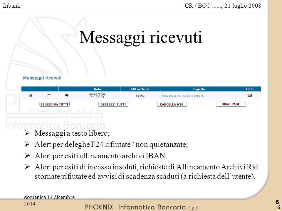 Inbank 6 CR / BCC......, 21 luglio 2008domenica 14 dicembre 2014 6 Messaggi ricevuti  Messaggi a testo libero;  Alert per deleghe F24 rifiutate / no