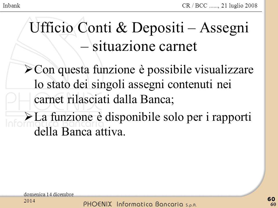 Inbank 60 CR / BCC......, 21 luglio 2008domenica 14 dicembre 2014 60 Ufficio Conti & Depositi – Assegni – situazione carnet  Con questa funzione è po