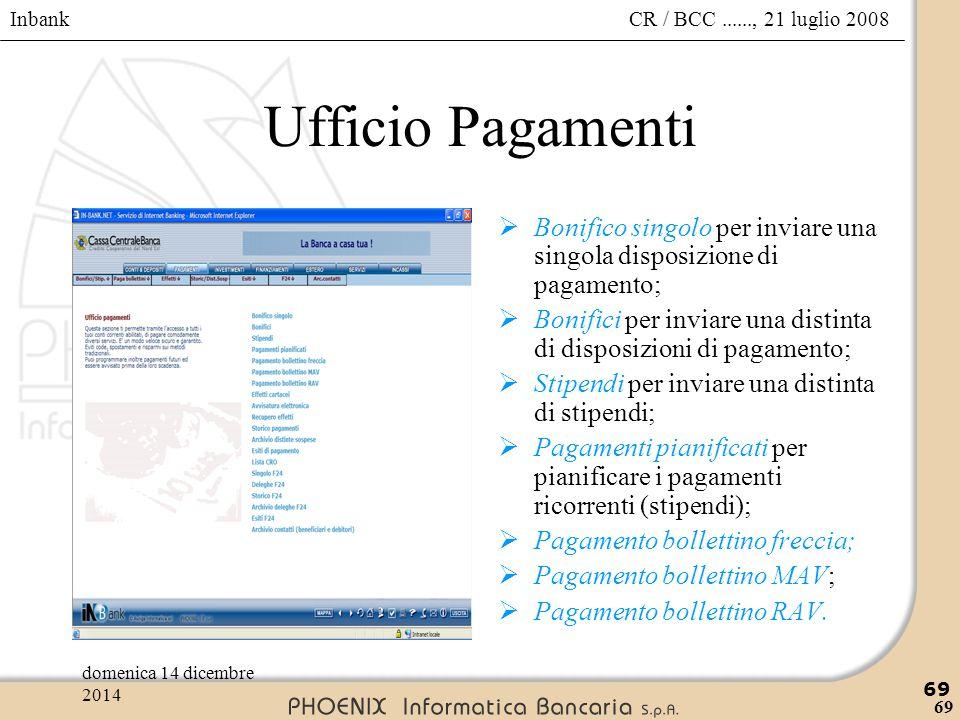 Inbank 69 CR / BCC......, 21 luglio 2008domenica 14 dicembre 2014 69 Ufficio Pagamenti  Bonifico singolo per inviare una singola disposizione di paga