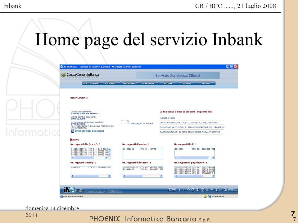 Inbank 78 CR / BCC......, 21 luglio 2008domenica 14 dicembre 2014 78 Ufficio Pagamenti – Bonifici – conferma invio  STORICO per visualizzare le disposizioni inviate;  TORNA ALL'UFFICIO per tornare all'ufficio pagamenti.