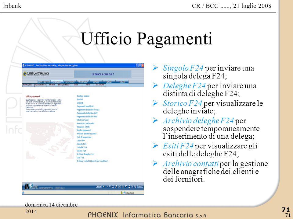 Inbank 71 CR / BCC......, 21 luglio 2008domenica 14 dicembre 2014 71 Ufficio Pagamenti  Singolo F24 per inviare una singola delega F24;  Deleghe F24