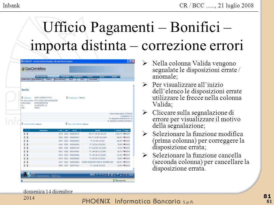 Inbank 81 CR / BCC......, 21 luglio 2008domenica 14 dicembre 2014 81 Ufficio Pagamenti – Bonifici – importa distinta – correzione errori  Nella colon