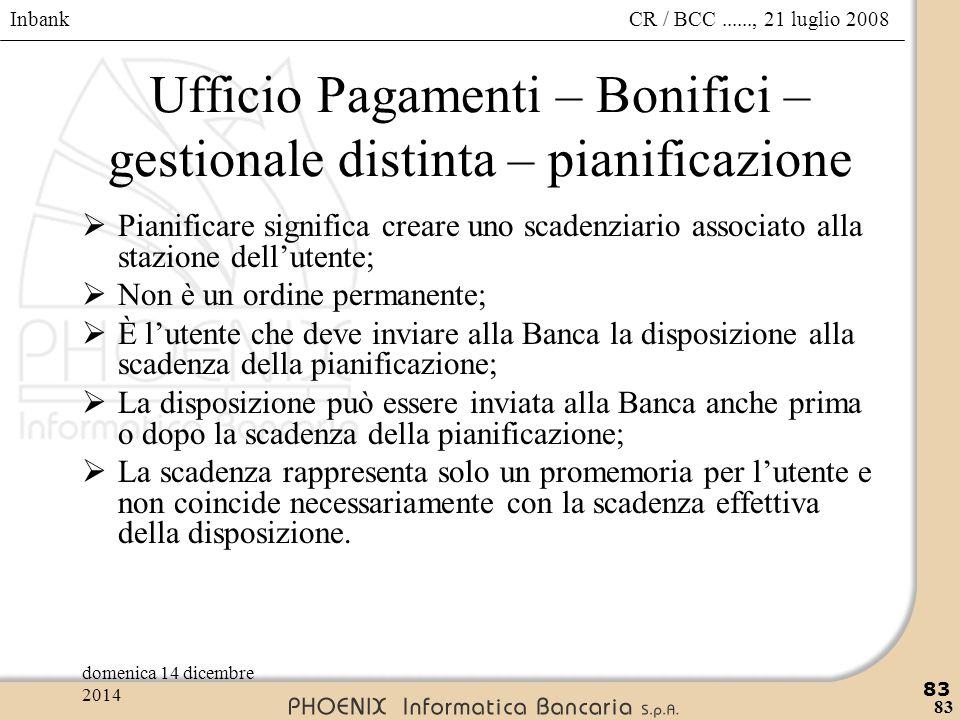 Inbank 83 CR / BCC......, 21 luglio 2008domenica 14 dicembre 2014 83 Ufficio Pagamenti – Bonifici – gestionale distinta – pianificazione  Pianificare
