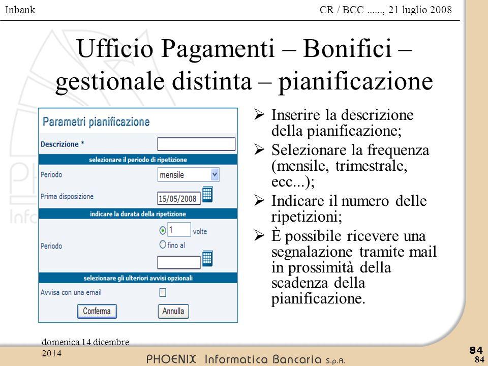 Inbank 84 CR / BCC......, 21 luglio 2008domenica 14 dicembre 2014 84 Ufficio Pagamenti – Bonifici – gestionale distinta – pianificazione  Inserire la