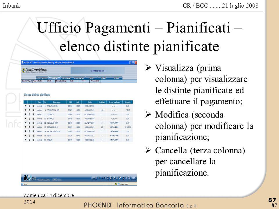 Inbank 87 CR / BCC......, 21 luglio 2008domenica 14 dicembre 2014 87 Ufficio Pagamenti – Pianificati – elenco distinte pianificate  Visualizza (prima