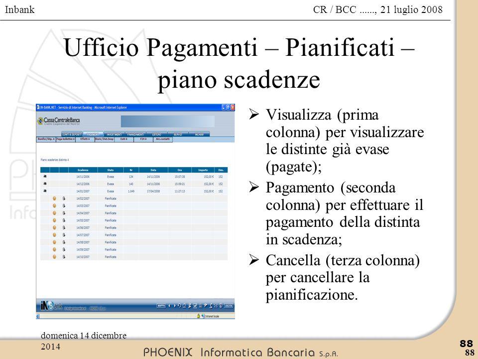 Inbank 88 CR / BCC......, 21 luglio 2008domenica 14 dicembre 2014 88 Ufficio Pagamenti – Pianificati – piano scadenze  Visualizza (prima colonna) per