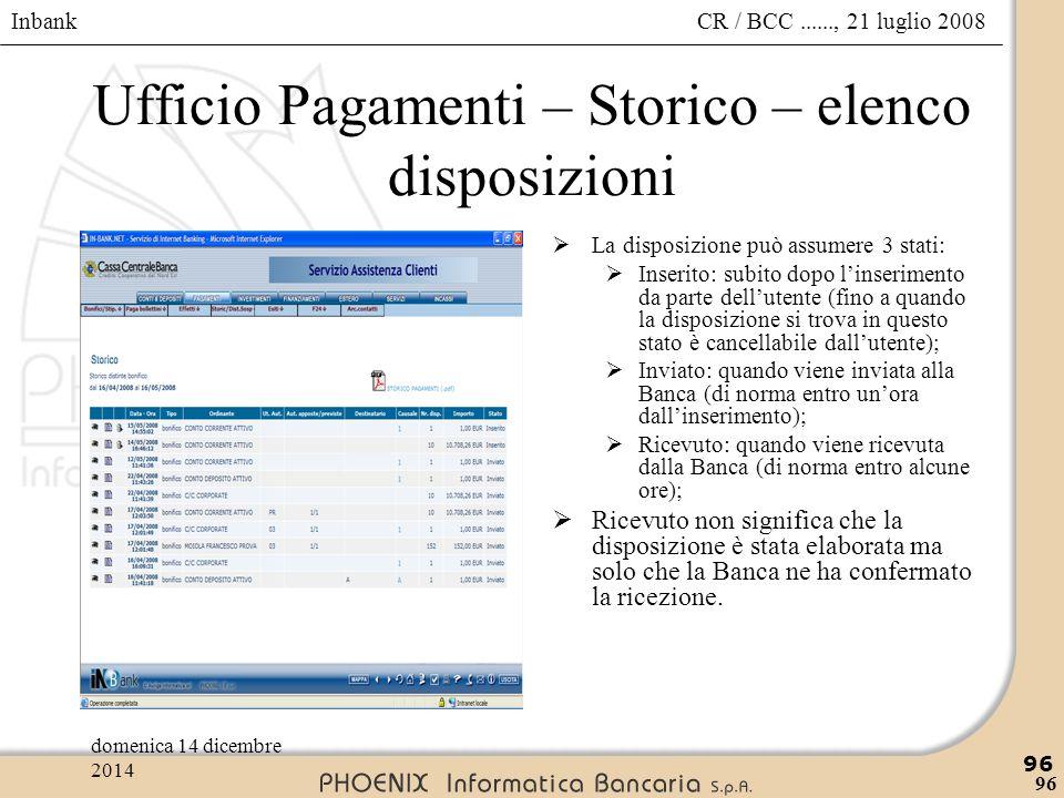 Inbank 96 CR / BCC......, 21 luglio 2008domenica 14 dicembre 2014 96 Ufficio Pagamenti – Storico – elenco disposizioni  La disposizione può assumere