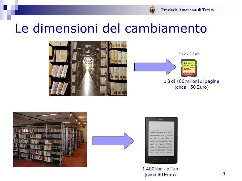 Provincia Autonoma di Trento - 4 - Le dimensioni del cambiamento più di 100 milioni di pagine (circa 150 Euro) 3 x 2 x 0,2 cm 1.400 libri - ePub (circa 60 Euro)