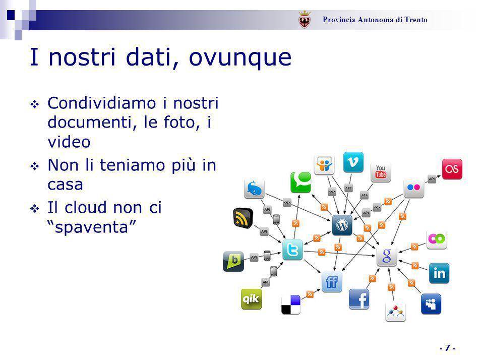 Provincia Autonoma di Trento - 8 - Il cloud  Mantenere le informazioni altrove è ormai una consuetudine  Ci permette di condividerle  Ci permette di lavorare in mobilità  Ci fa ragionare sul servizio e non sugli strumenti tecnologici che lo supportano