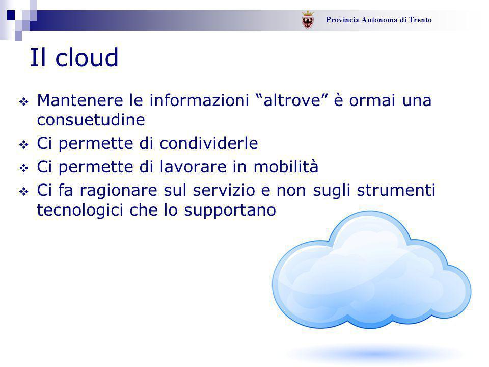 """Provincia Autonoma di Trento - 8 - Il cloud  Mantenere le informazioni """"altrove"""" è ormai una consuetudine  Ci permette di condividerle  Ci permette"""
