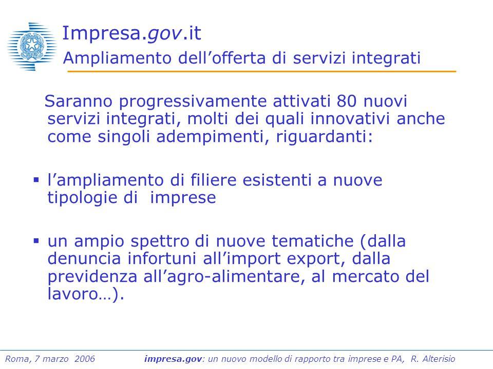 Roma, 7 marzo 2006 impresa.gov: un nuovo modello di rapporto tra imprese e PA, R.