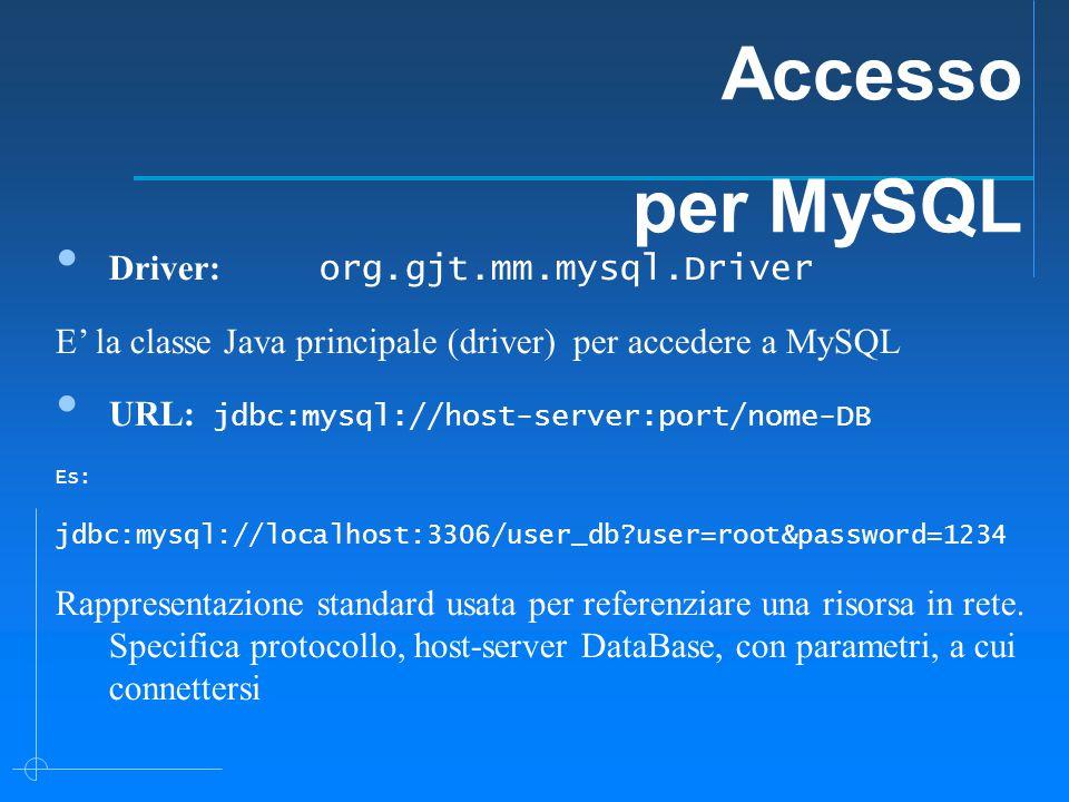 Driver: org.gjt.mm.mysql.Driver E' la classe Java principale (driver) per accedere a MySQL URL: jdbc:mysql://host-server:port/nome-DB Es: jdbc:mysql://localhost:3306/user_db user=root&password=1234 Rappresentazione standard usata per referenziare una risorsa in rete.