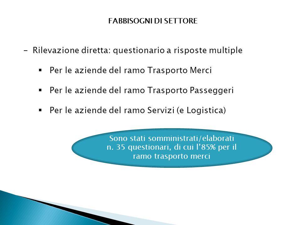 FABBISOGNI DI SETTORE -Rilevazione diretta: questionario a risposte multiple  Per le aziende del ramo Trasporto Merci  Per le aziende del ramo Trasp